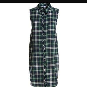 Sans Souci Plaid Button Down Tunic Shirt Dress
